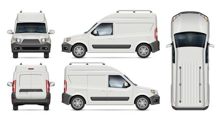 Mini cargo van vector mockup for vehicle branding, advertising, corporate identity. View from side, front, back, top. All elements in the groups on separate layers for easy editing and recolor