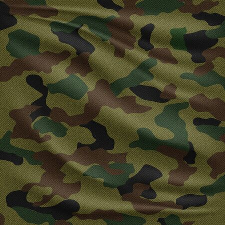Realistic camouflage fabric pattern. Military uniform vector texture