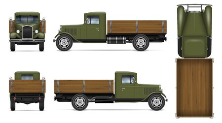 Retro car vector mockup on white background. Isolated green truck view from side, front, back, top. All elements in the groups on separate layers for easy editing and recolor