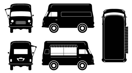 Vintage food truck silhouette on white background. Vehicle icons set view from side, front, back, and top 向量圖像
