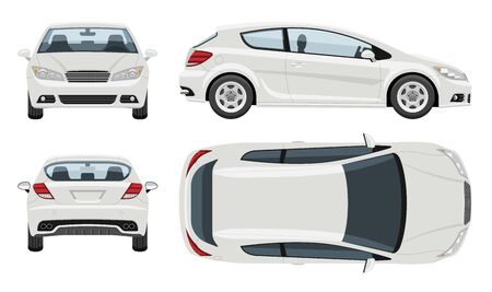 White hatchback car vector template with simple colors without gradients and effects. View from side, front, back, and top.