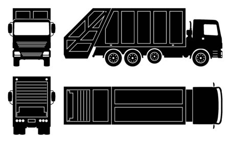 Garbage truck silhouette on white background. Vehicle icons set view from side, front, back, and top