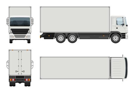 Box truck vector template with simple colors without gradients and effects. View from side, front, back, and top Vecteurs