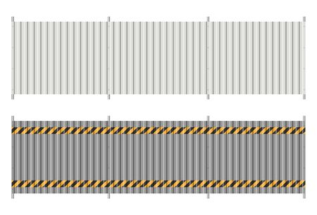 Corrugated metal fence on white background. Profiled panels sheet texture