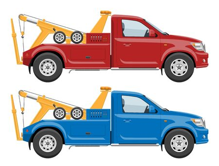 Red and blue tow trucks side view template with simple colors without gradients and effects Illustration