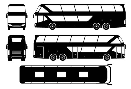Tourist bus silhouette on white background. Vehicle icons set view from side, front, back, and top
