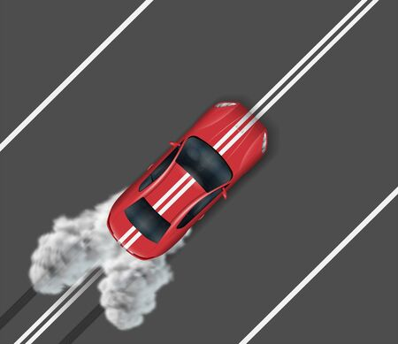 Top view of sports car on asphalt road. Red auto driving on the median strip Illustration
