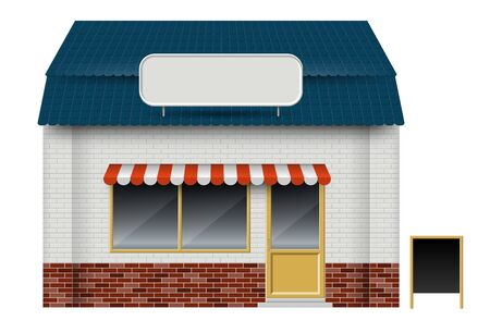Store or cafe front view on white background. Isolated vector illustration of exterior facade building Illustration