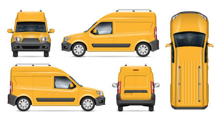 Delivery van vector mockup for vehicle branding, advertising, corporate identity. Isolated template of realistic minivan on white background. All elements in the groups on separate layers