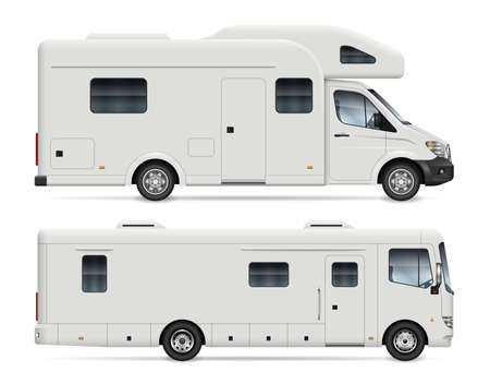 Motorhome side view vector mockup on white background for vehicle branding, corporate identity. All elements in the groups on separate layers for easy editing and recolor.