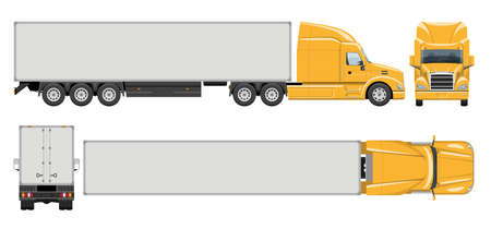 Semi trailer truck vector template with simple colors without gradients and effects. View from side, front, back, and top