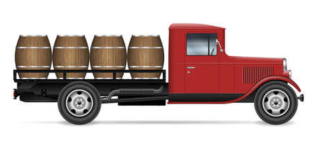 Vintage truck with wooden barrels view from side, all elements in the groups on separate layers for easy editing and recolor