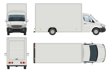 Van vector template with simple colors without gradients and effects. View from side, front, back, and top
