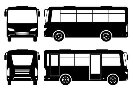 Small bus silhouette on white background. Vehicle icons set view from side, front, and back