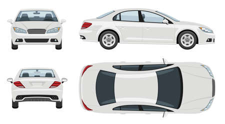 White car vector template with simple colors without gradients and effects. View from side, front, back, and top.
