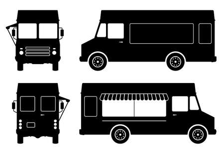 Food truck pictograms on white background. Vehicle black icons set view from side, front and back