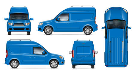 Delivery blue van vector mockup for vehicle branding, advertising, corporate identity. Isolated template of realistic minivan on white background. All elements in the groups on separate layers 写真素材 - 153217888