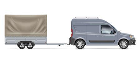 Van towing a trailer tent vector illustration. Side view of car on white background Ilustración de vector