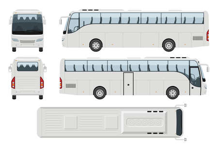 Coach bus vector template with simple colors without gradients and effects. View from side, front, back, and top 向量圖像
