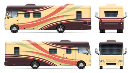 Recreational vehicle vector mockup on white for vehicle branding, corporate identity. View from side, front, back. All elements in the groups on separate layers for easy editing and recolor. 向量圖像