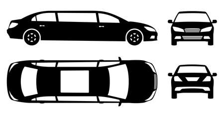 Limousine silhouette on white background. Vehicle black icons set view from side, front, back and top 向量圖像