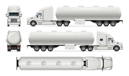Tanker truck vector mockup on white for vehicle branding, corporate identity. View from side, front, back and top. All elements in the groups on separate layers for easy editing and recolor Vektorgrafik