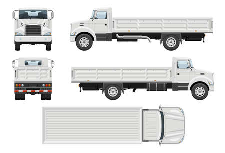 Dropside truck vector template with simple colors without gradients and effects. View from side, front, back, and top