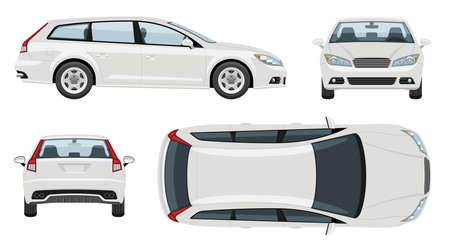 White station wagon car vector template with simple colors without gradients and effects. View from side, front, back, and top
