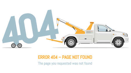 404 error page not found design with tow truck on white background. Webpage banner, search result message vector illustration. 写真素材 - 155357908