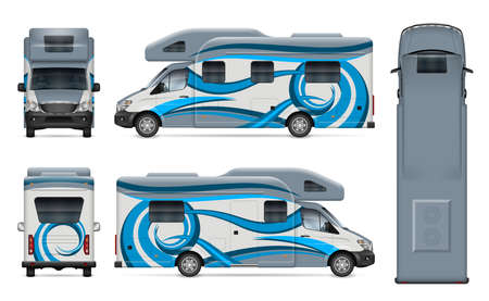 Recreational vehicle vector wrap mockup on white for vehicle branding, corporate identity. View from side, front, back, top. All elements in the groups on separate layers for easy editing and recolor 写真素材 - 155587363