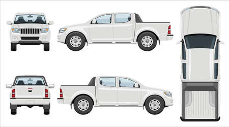 White pickup truck vector template with simple colors without gradients and effects. View from side, front, back, and top