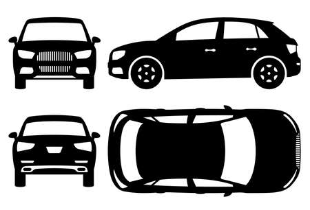 SUV car silhouette on white background. Vehicle icons set view from side, front, back, and top 写真素材 - 157605786