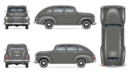 Retro car vector mockup on white background. Isolated grey auto view from side, front, back, top. All elements in the groups on separate layers for easy editing and recolor.
