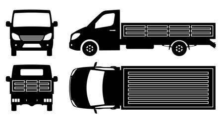 Flatbed truck silhouette on white background. Vehicle monochrome icons set view from side, front, back, and top