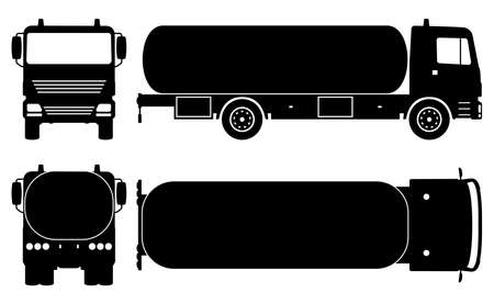 Tanker truck silhouette on white background. Vehicle monochrome icons set view from side, front, back, and top