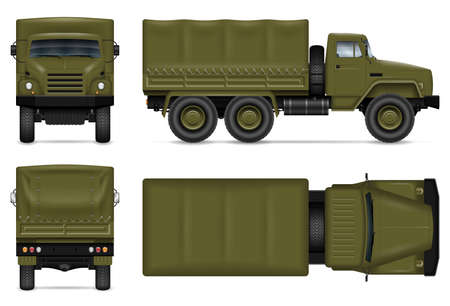 Military truck isolated vector on white