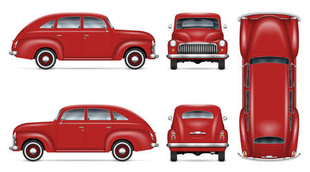 Vintage car vector mockup on white background. Isolated red auto view from side, front, back, top. All elements in the groups on separate layers for easy editing and recolor.