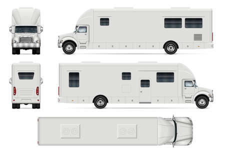 Recreational vehicle vector mockup on white for vehicle branding, corporate identity. View from side, front, back and top. All elements in the groups on separate layers for easy editing and recolor.