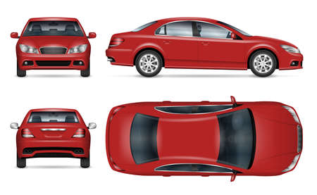 Sedan car vector mockup for vehicle branding, advertising, corporate identity. View from side, front, back and top. All elements in the groups on separate layers for easy editing and recolor.