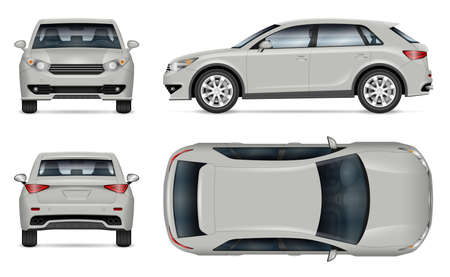 Crossover SUV vector mockup on white background for vehicle branding, corporate identity. View from side, front, back, top. All elements in the groups on separate layers for easy editing and recolor