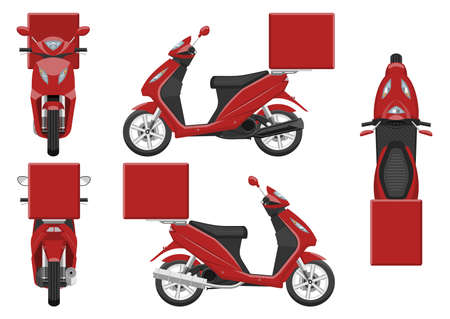 Red delivery motorcycle vector template with simple colors without gradients and effects. View from side, front, back, and top 向量圖像