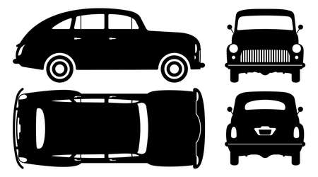 Vintage car silhouette on white background. Vehicle icons set view from side, front, back, and top 向量圖像
