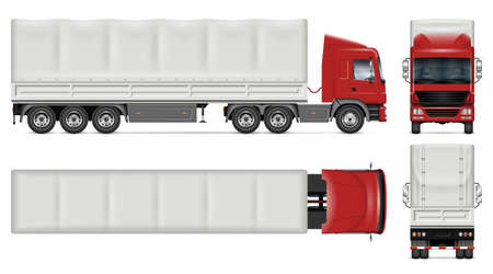 Semi trailer truck vector mockup on white for vehicle branding, corporate identity. View from side, front, back, top. All elements in the groups on separate layers for easy editing and recolor