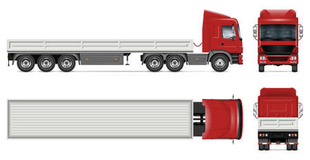 Dropside truck vector mockup on white for vehicle branding, corporate identity. View from side, front, back, top. All elements in the groups on separate layers for easy editing and recolor