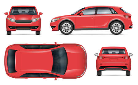 Realistic SUV vector mockup. Isolated template of red car on white background for vehicle branding, corporate identity. View from left, right, front, back, and top sides, easy editing and recolor.