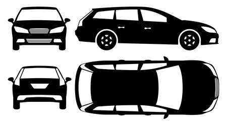 Station wagon car silhouette on white background. Vehicle icons set view from side, front, back, and top