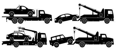 Tow trucks silhouette on white background. Vehicle icons set view from side 向量圖像