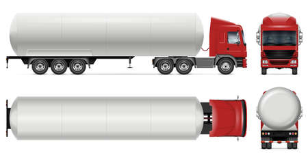 Tanker truck vector mockup on white for vehicle branding, corporate identity. View from side, front, back and top. All elements in the groups on separate layers for easy editing and recolor
