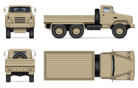 Military truck isolated vector mockup on white background. Army vehicle with view from side, front, back, and top. All elements in the groups on separate layers for easy editing and recolor