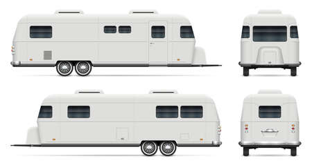 Rv camping trailer vector mockup on white background for vehicle branding, corporate identity. View from side, front, back. All elements in the groups on separate layers for easy editing and recolor